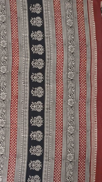 Black Dark Maroon & Cream Hand Block Print Saree