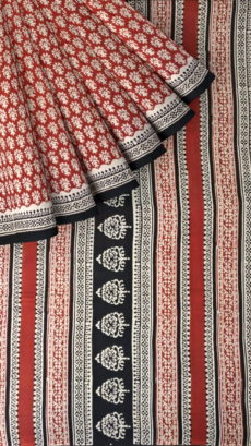 Cream & Dark Red Hand Block Print Saree-yespoho
