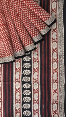Dark Brown & OffWhite Hand Block Print Saree-yespoho