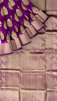 Violet & Sandal Traditional Butta Kanchipuram Pure Silk Saree-yespoho