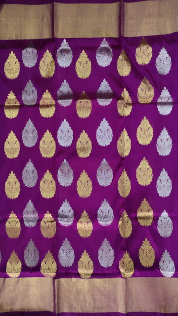 Yespoho Violet & Sandal Traditional Butta Kanchipuram Pure Silk Saree