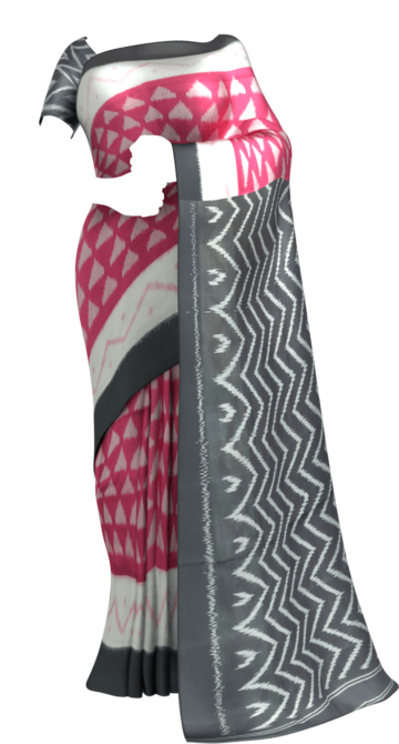 Light Pink & Black Ikat Cotton saree with Unstitched Blouse