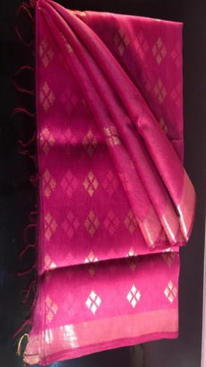 Dark Pink Linen Silk Saree With Cut work Pallu-yespoho