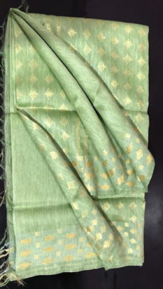 Light Pista Green Linen Silk Saree With Cut work Pallu-yespoho