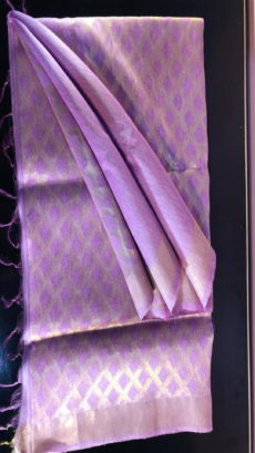 Lavender Linen Silk Saree With Cut work Pallu-yespoho
