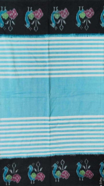 Yespoho Sky Blue & Black Ikat Cotton Saree with Bird Design Pallu
