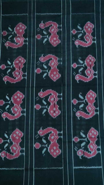 Black Magenta & Black Checked Ikat Cotton Saree