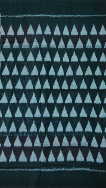 Black Light Grey & Black Ikat Cotton Saree