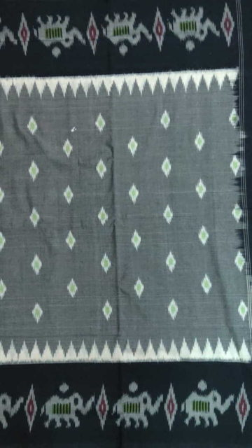 Yespoho Light Grey & Black Ikat Cotton Saree With Bird Design Pallu