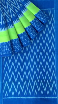 Royal Blue & Parrot Green Wave Design Ikat Cotton Saree-yespoho