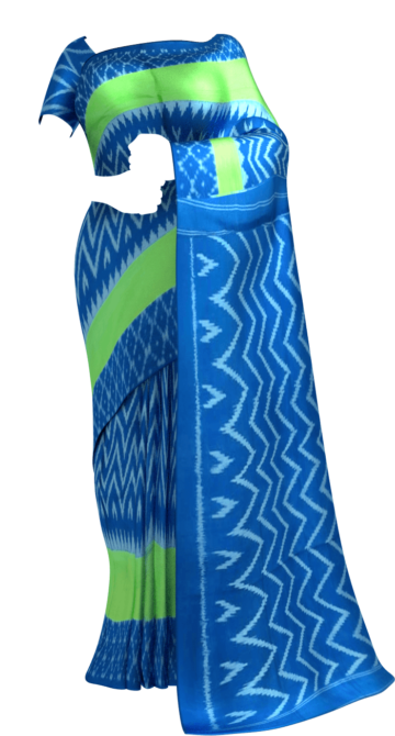 Royal Blue & Parrot Green Wave Design Ikat Cotton Saree Cotton Sarees Diwali Sale Yespoho Sarees New Arrivals