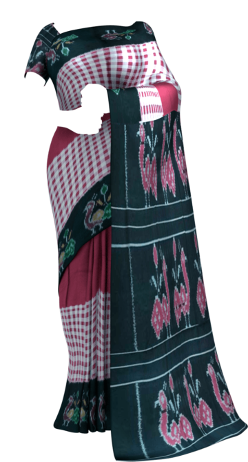 Magenta & Black Checked Ikat Cotton Saree with Unstitched Blouse