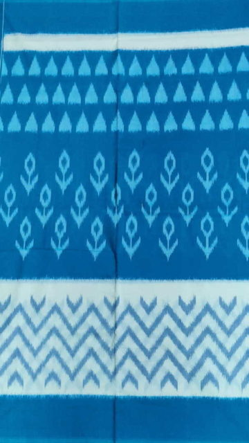 Yespoho Ananda Blue & Sky Blue Ikat Cotton Saree