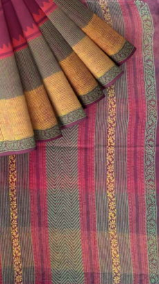 Designer temple  Kotta Cotton Block Print Saree-yespoho
