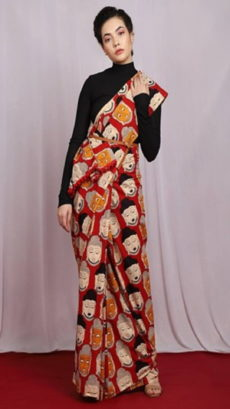 Red Peace Buddha Design Cotton Saree-yespoho