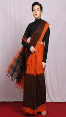 Orange & Black Half & Half khadi Saree-yespoho