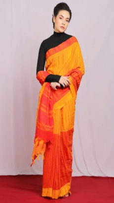 Mustard Yellow & Orange Half & Half khadi saree-yespoho