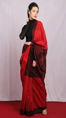 Red Ikat Pattern Khadi Saree-yespoho