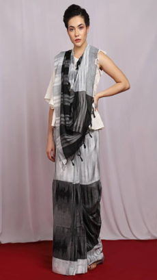 Light Grey & Black Ikat Pattern Khadi Saree-yespoho