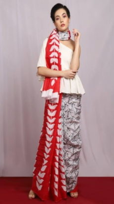 Bright Red & White Creeper Design Cotton Saree-yespoho