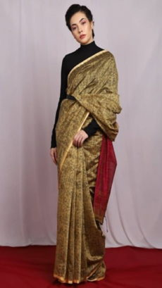 Beige & Red Egyptian Print Handloom Cotton Saree-yespoho