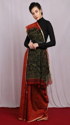Red & Black  Egyptian Print Handloom Saree-yespoho
