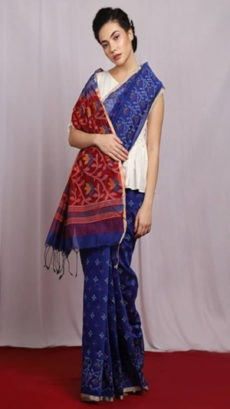 Blue & Maroon Dhakai Handloom Cotton Saree-yespoho