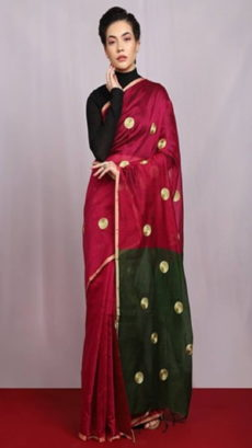 Magenta & Black Embroidered Ball Butta Cotton  Saree-yespoho