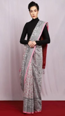 Light Grey & Maroon Goddess Design Printed Cotton Saree-yespoho