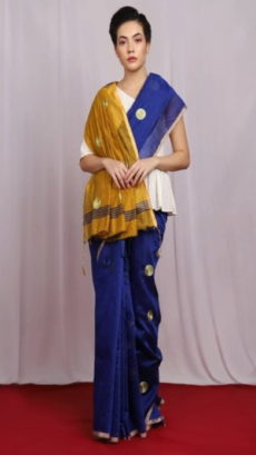 Dark Blue & Yellow Embroidered Ball Butta Cotton Saree-yespoho