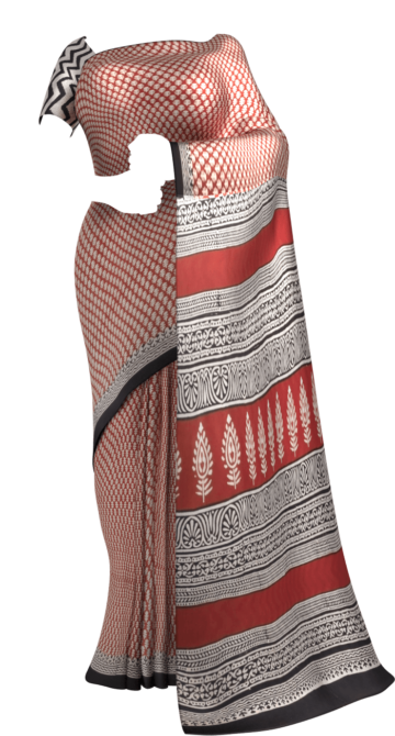 Bagru Designer Bold Lines Hand Block Printed Cotton Saree Cotton Sarees Happy Holidays Sale Saree25 Thanksgiving Year End Dhamaka Yespoho Sarees Handpicked Collections New Arrivals