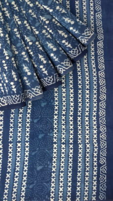 Designer Traingle  Dabu Indigo Mud Block Print Cotton Saree-yespoho