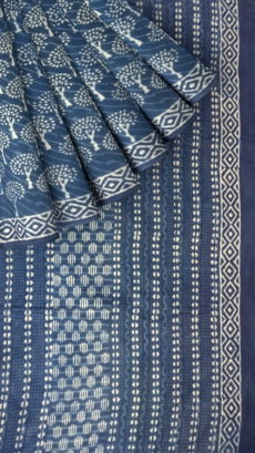 Designer Dabu Indigo Mud Batik Tree Print Cotton Saree-yespoho