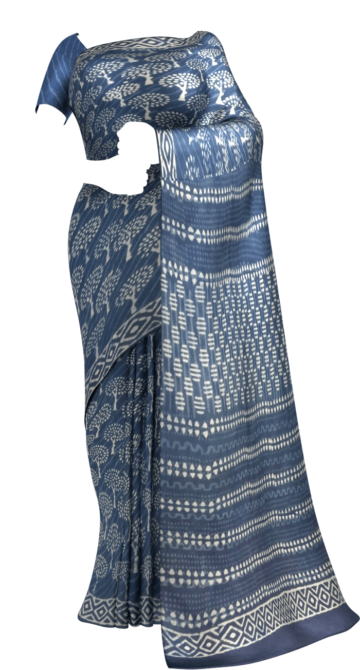 Designer Dabu Indigo Mud Batik Tree Print Cotton Saree Cotton Sarees Thanksgiving Winter Sale Yespoho Sarees Handpicked Collections New Arrivals