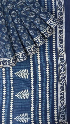 Designer Eye Dabu Indigo Mud Batik Print Cotton Saree-yespoho