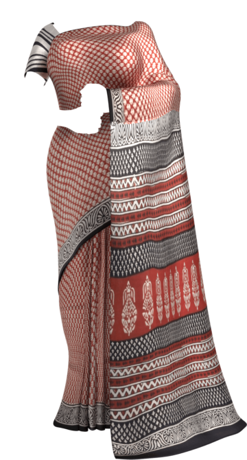 Designer Bold Stripe Hand Block Print Natural Dye Cotton Saree Cotton Sarees Happy Holidays Sale Saree25 Thanksgiving Year End Dhamaka Yespoho Sarees Handpicked Collections New Arrivals