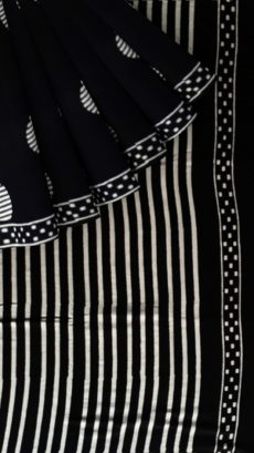 Black & White Dark Line Circle Hand Block Printed Cotton Saree-yespoho