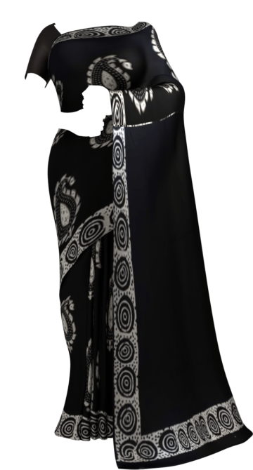 Black & White Large paisley Hand Block Printed Cotton Saree Cotton Sarees Happy Holidays Sale Saree25 Thanksgiving Year End Dhamaka Yespoho Sarees Handpicked Collections New Arrivals