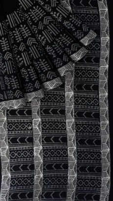 Black & White Sun Flower Hand Block Printed Cotton Saree-yespoho