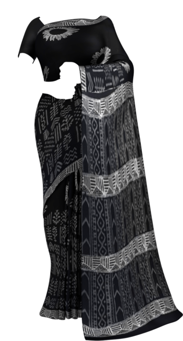 Black & White Sun Flower Hand Block Printed Cotton Saree Cotton Sarees Happy Holidays Sale Saree25 Thanksgiving Year End Dhamaka Yespoho Sarees Handpicked Collections New Arrivals