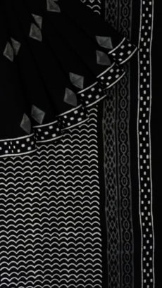 Black & White Rhombus  Hand Block Printed Cotton Saree-yespoho