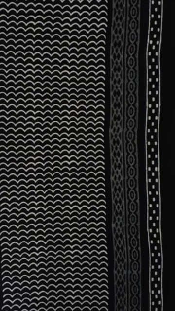 Black & White Black & White Rhombus  Hand Block Printed Cotton Saree