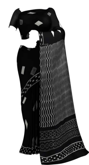 Black & White Rhombus  Hand Block Printed Cotton Saree Cotton Sarees Happy Holidays Sale Saree25 Thanksgiving Year End Dhamaka Yespoho Sarees Handpicked Collections New Arrivals
