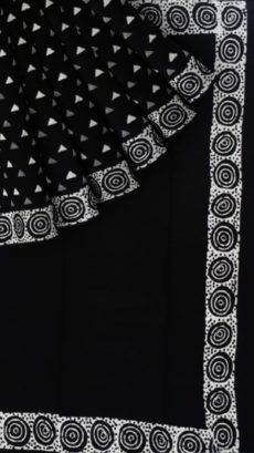 Black & White circle Spiral,Triangle Block Printed Cotton Saree-yespoho