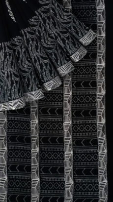 Black & White Curvilinear  Hand Block Printed Cotton Saree-yespoho