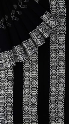 Black & White Geometric Vectors Hand Block Printed Cotton Saree-yespoho