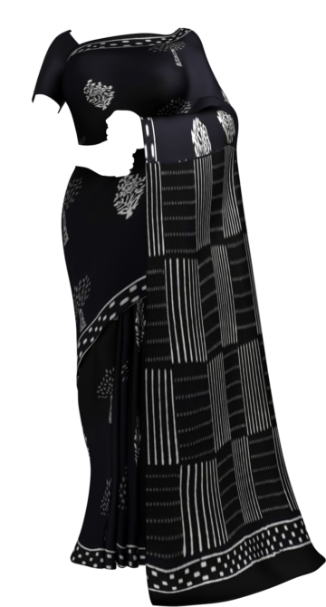 Black & White Tree,Flower Hand Block Printed Cotton Saree Cotton Sarees Saree25 Yespoho Sarees Handpicked Collections