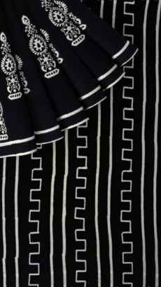 Black &White Traditional Hand Block Printed Cotton Saree-yespoho