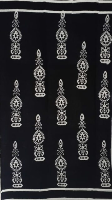 Yespoho Black &White Traditional Hand Block Printed Cotton Saree