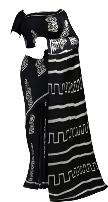 Black &White Traditional Hand Block Printed Cotton Saree Cotton Sarees Happy Holidays Sale Saree25 Thanksgiving Year End Dhamaka Yespoho Sarees Handpicked Collections New Arrivals